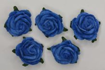 2.5cm ROYAL BLUE Mulberry Paper Roses (only flower head)